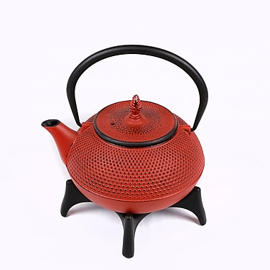 Tao Tea Leaf Large Cast Iron Tea Pot with Stand, 1.2L, Red