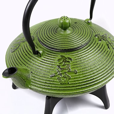 Tao Tea Leaf Large Cast Iron Tea Pot with Stand, 1.15L, Green