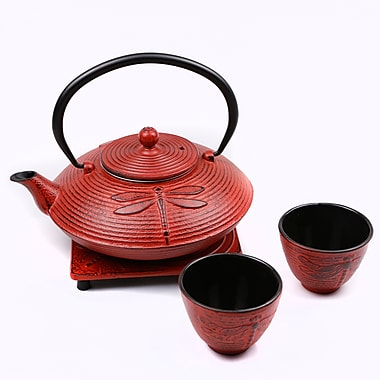 Tao Tea Leaf Large Cast Iron Tea Pot with Stand and 2 Cups, 0.8L, Red