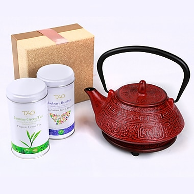 Tao Tea Leaf Cast Iron Tea Pot Gift Set 0.8L