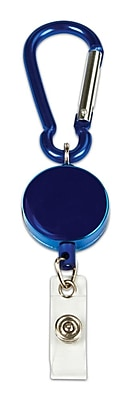 Cosco® MyID™ Anodized Metal Carabiner Reel For ID Badge Holders, Blue, 6/Pack