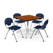 "OFM PKG-BRK-05-0005 36"" Square Wood Multi-Purpose Table with 4 Chairs, Cherry Table/Navy Chair"