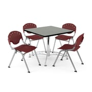 """OFM PKG-BRK-05-0009 36"""" Square Wood Multi-Purpose Table with 4 Chairs, Gray Nebula Table/Burgundy Chair"""