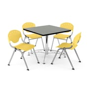 """OFM PKG-BRK-05-0010 36"""" Square Wood Multi-Purpose Table with 4 Chairs, Gray Nebula Table/Lemon Yellow Chair"""