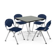 "OFM PKG-BRK-05-0011 36"" Square Wood Multi-Purpose Table with 4 Chairs, Gray Nebula Table/Navy Chair"