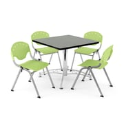 "OFM PKG-BRK-05-0012 36"" Square Wood Multi-Purpose Table with 4 Chairs, Gray Nebula Table/Lime Green Chair"
