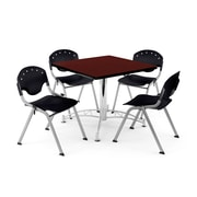 "OFM PKG-BRK-05-0013 36"" Square Wood Multi-Purpose Table with 4 Chairs, Mahogany Table/Black Chair"