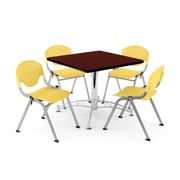 "OFM PKG-BRK-05-0016 36"" Square Wood Multi-Purpose Table with 4 Chairs, Mahogany Table/Lemon Yellow Chair"