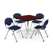 "OFM PKG-BRK-05-0017 36"" Square Wood Multi-Purpose Table with 4 Chairs, Mahogany Table/Navy Chair"