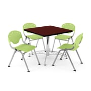 "OFM PKG-BRK-05-0018 36"" Square Wood Multi-Purpose Table with 4 Chairs, Mahogany Table/Lime Green Chair"