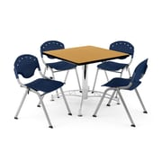 """OFM PKG-BRK-05-0023 36"""" Square Wood Multi-Purpose Table with 4 Chairs, Oak Table/Navy Chair"""
