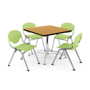 """OFM PKG-BRK-05-0024 36"""" Square Wood Multi-Purpose Table with 4 Chairs, Oak Table/Lime Green Chair"""