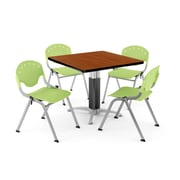 "OFM PKG-BRK-022-0006 36"" Square Laminate Multi-Purpose Table with 4 Chairs, Cherry Table/Lime Green Chair"