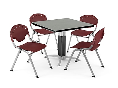 """OFM PKG-BRK-024-0009 42"""" Square Laminate Multi-Purpose Table with 4 Chairs, Gray Nebula Table/Burgundy Chair"""