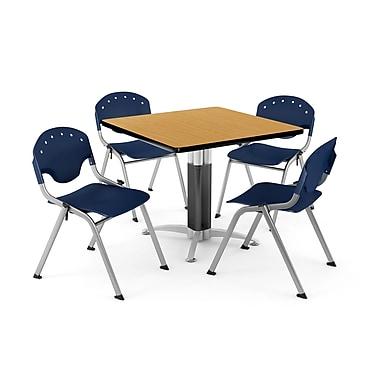 OFM – Table carrée et polyvalente de 42 po en stratifié cerisier avec 4 chaises bleu marine PKG-BRK-024-0023 (845123047453)