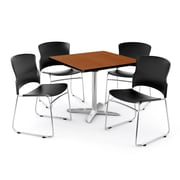 "OFM PKG-BRK-026-0002 42"" Square Laminate Multi-Purpose Table with 4 Chairs, Cherry Table/Black Chair"