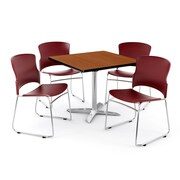 "OFM PKG-BRK-025-0003 36"" Square Laminate Multi-Purpose Table with 4 Chairs, Cherry Table/Wine Chair"
