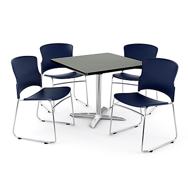 OFM – Table carrée et polyvalente de 42 po en stratifié gris nébuleux avec 4 chaises bleu marine PKG-BRK-026-0008 (845123047705)