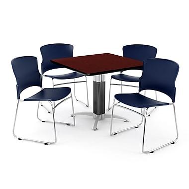 OFM – Table carrée et polyvalente de 42 po en stratifié acajou avec 4 chaises bleu marine PKG-BRK-030-0012 (845123048382)