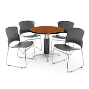 "OFM PKG-BRK-027-0001 36"" Round Laminate Multi-Purpose Table with 4 Chairs, Cherry Table/Gray Chair"