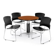 "OFM PKG-BRK-027-0002 36"" Round Laminate Multi-Purpose Table with 4 Chairs, Cherry Table/Black Chair"