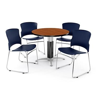 OFM – Table ronde et polyvalente de 36 po en stratifié cerisier avec 4 chaises bleu marine PKG-BRK-027-0004 (845123047828)