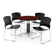 "OFM PKG-BRK-027-0010 36"" Round Laminate Multi-Purpose Table with 4 Chairs, Mahogany Table/Black Chairs"