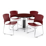 """OFM PKG-BRK-027-0011 36"""" Round Laminate Multi-Purpose Table with 4 Chairs, Mahogany Table/Wine Chair"""