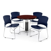 "OFM PKG-BRK-027-0012 36"" Round Laminate Multi-Purpose Table with 4 Chairs, Mahogany Table/Navy Chair"