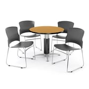 "OFM PKG-BRK-027-0013 36"" Round Laminate Multi-Purpose Table with 4 Chairs, Oak Table/Gray Chair"