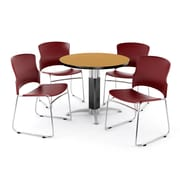"OFM PKG-BRK-027-0015 36"" Round Laminate Multi-Purpose Table with 4 Chairs, Oak Table/Wine Chair"