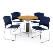 """OFM PKG-BRK-029-0016 42"""" Round Laminate Multi-Purpose Table with 4 Chairs, Oak Table/Navy Chair"""