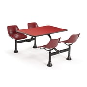 "OFM 1002-MRN-RED 24"" x 48"" Rectangular Laminate Cluster Table with 4 Chairs, Red Table/Maroon Chair"