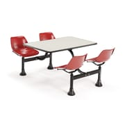 "OFM 1002-RED-BGNB 24"" x 48"" Rectangular Laminate Cluster Table with 4 Chairs, Beige Nebula Table/Red Chair"