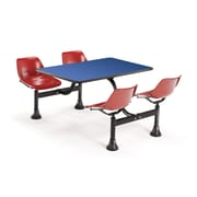 "OFM 1002-RED-BLUE 24"" x 48"" Rectangular Laminate Cluster Table with 4 Chairs, Blue Table/Red Chair"