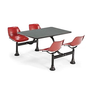 OFM – Table rectangulaire de 30 x 48 po en stratifié gris nébuleux et 4 chaises attenantes rouges 1003-RED-GRYNB (845123010754)