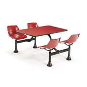 "OFM 1003-RED-RED 30"" x 48"" Rectangular Laminate Cluster Table with 4 Chairs, Red Table/Red Chair"