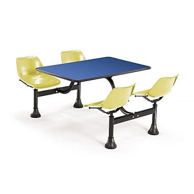 OFM – Table rectangulaire de 24 x 48 po en stratifié bleu avec 4 chaises jaunes attenantes 1002-YLW-BLUE (845123010532)