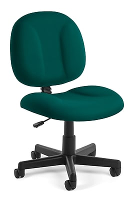 OFM Comfort Series Armless Task Chair, Fabric, Mid Back, Teal, (105-802)