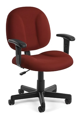 OFM Comfort Fabric Computer and Desk Office Chair, Adjustable Arms, Wine (845123010945)