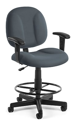 OFM Comfort 105-AA-DK-801 Fabric Task Stool with Arms, Gray