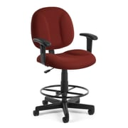 OFM Comfort 105-AA-DK-803 Fabric Task Stool with Arms, Wine
