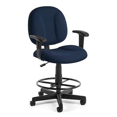 OFM Comfort Fabric Task Stool with Arms, Navy (845123011027)
