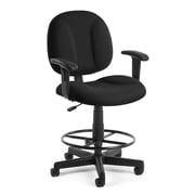 OFM Fabric Task Stool with Arms, Black, Comfort 105-AA-DK-805