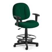OFM Comfort 105-AA-DK-807 Fabric Task Stool with Arms, Green