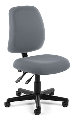 OFM Posture Series Armless Swivel Task Chair, Fabric, Mid Back, Gray, (118-2-801)