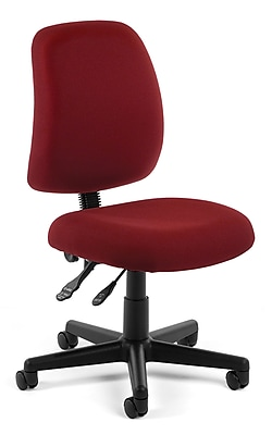OFM Posture Fabric Computer and Desk Office Chair, Armless, Wine (811588012572)