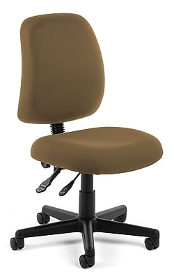 OFM Posture Series Armless Swivel Task Chair, Fabric, Mid Back, Taupe, (118-2-806)