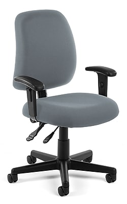OFM Posture Fabric Computer and Desk Office Chair, Adjustable Arms, Gray (845123011140)