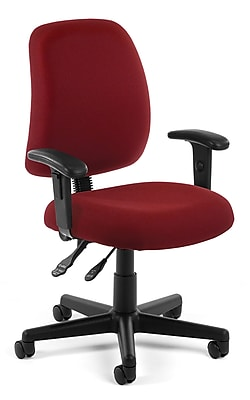 OFM Posture Fabric Computer and Desk Office Chair, Adjustable Arms, Wine (845123011164)